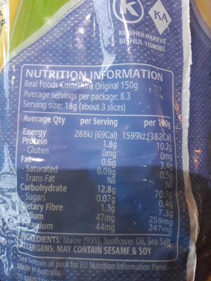 Corn Thins - Nutrition facts