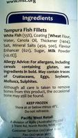 Sustainable Harvest Tempura Battered Natural Fish Fillets - Ingrédients