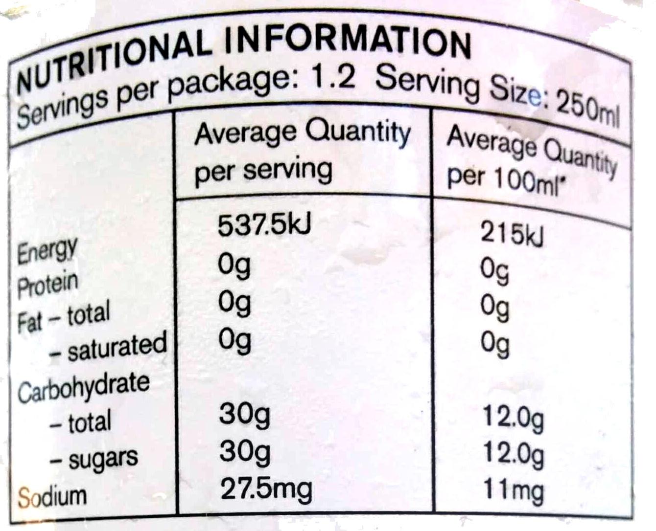 Pop Art Ginger Beer - Informations nutritionnelles