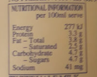 Tweedvale Pasteurised Milk - Nutrition facts
