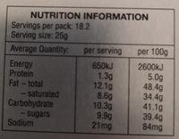 Lindor - Nutrition facts - en