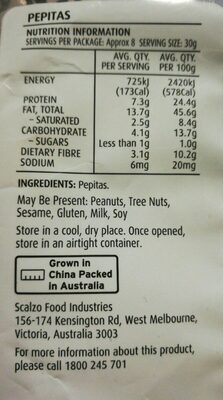 PEPITAS 250grs - Nutrition facts