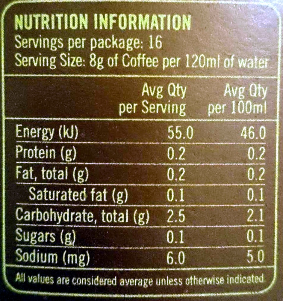 Caramel Indulgence Flavoured 100% Arabica Coffee Caffitaly Capsules - Nutrition facts