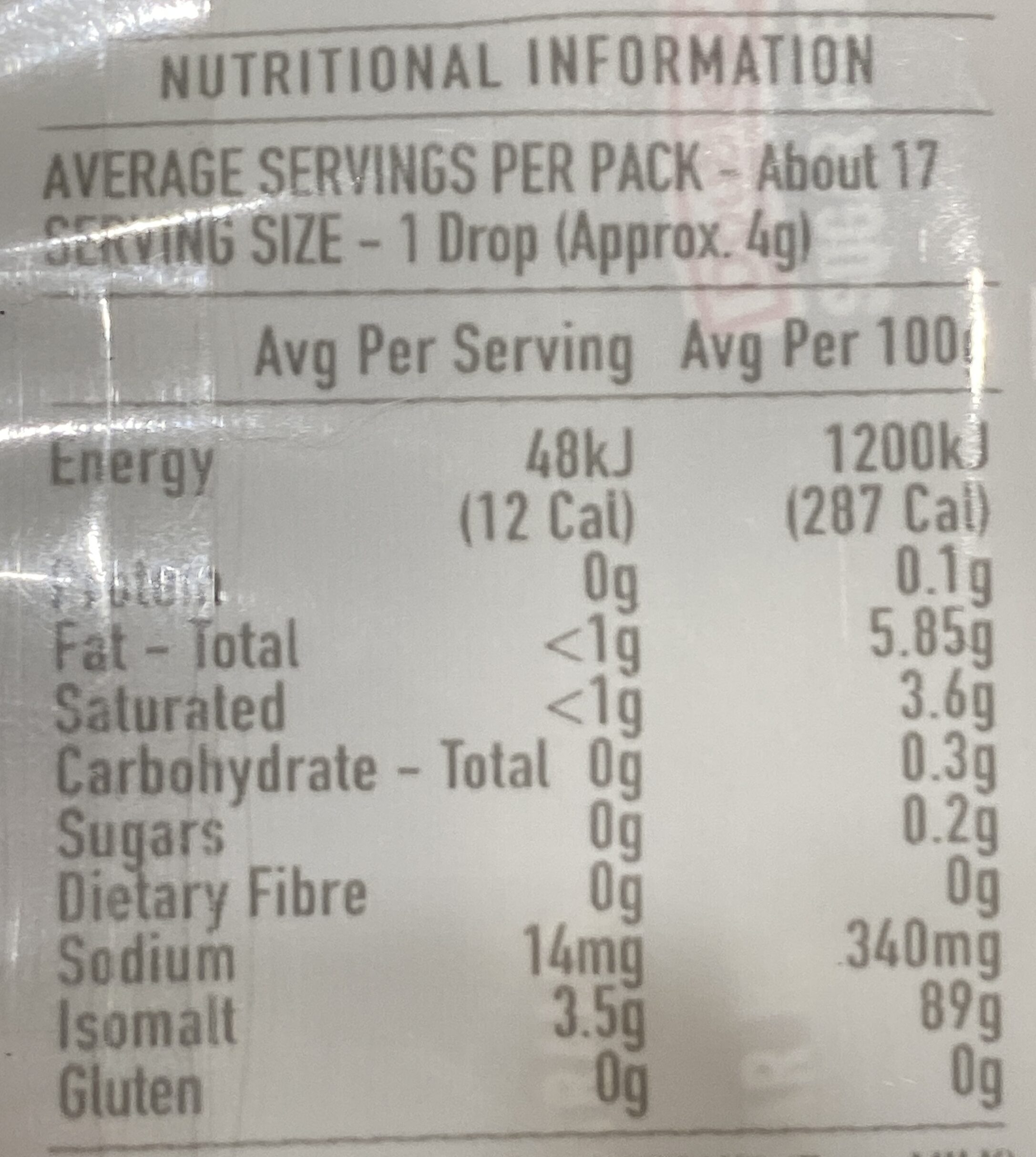 Sugar Free Choco Drops - Nutrition facts - en
