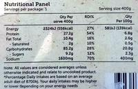 Singapore Noodles - Nutrition facts