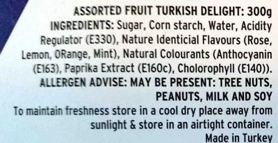 Assorted Fruit Turkish Delight - Ingrediënten