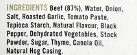 Pepper & Thyme 100% Natural Hormone Free Beef Sausages - Ingredients