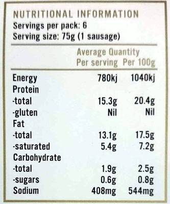 Pepper & Thyme 100% Natural Hormone Free Beef Sausages - Nutrition facts
