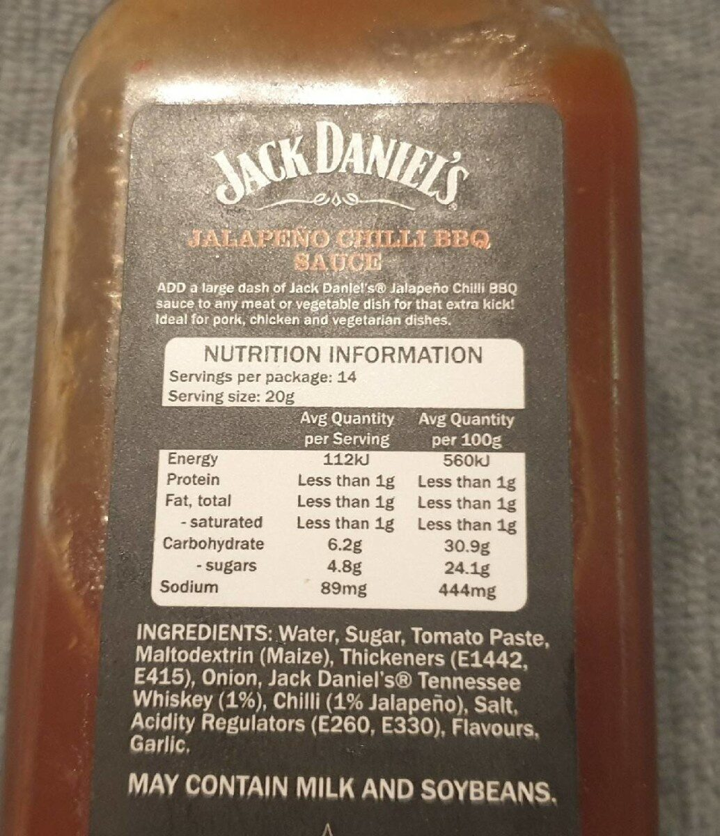 Tennessee Style Barbecue Sauce Jalapeño Chilli BBQ - Nutrition facts - en
