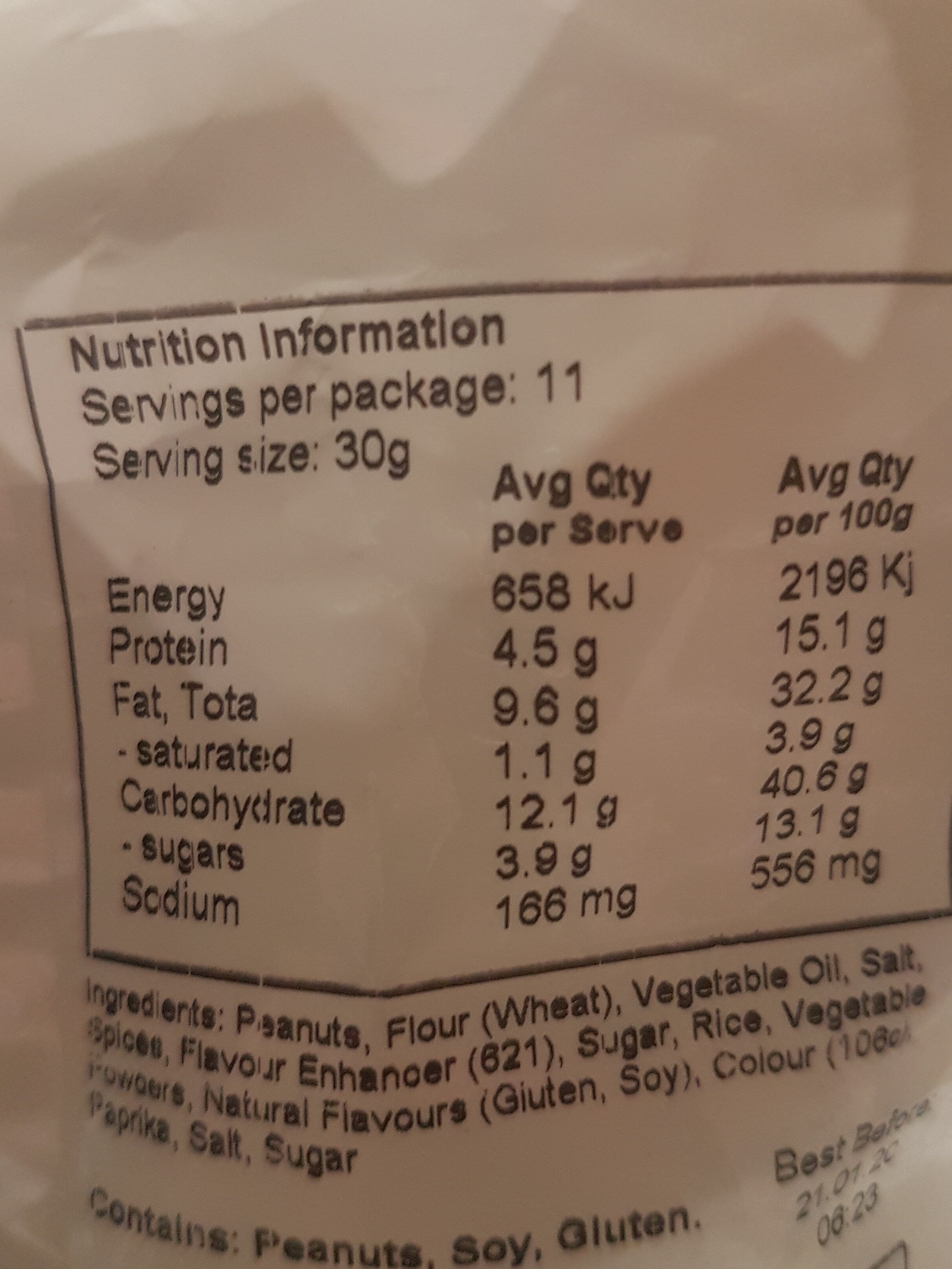 barbecue kri kri peanuts - Nutrition facts - en