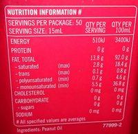 Peanut oil - Nutrition facts