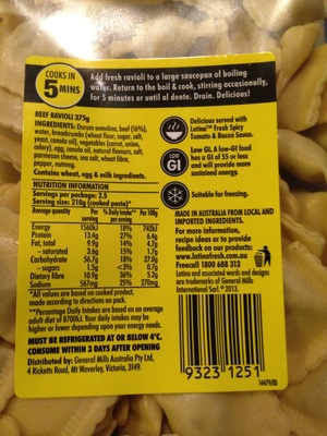 Latina Beef Ravioli - Nutrition facts