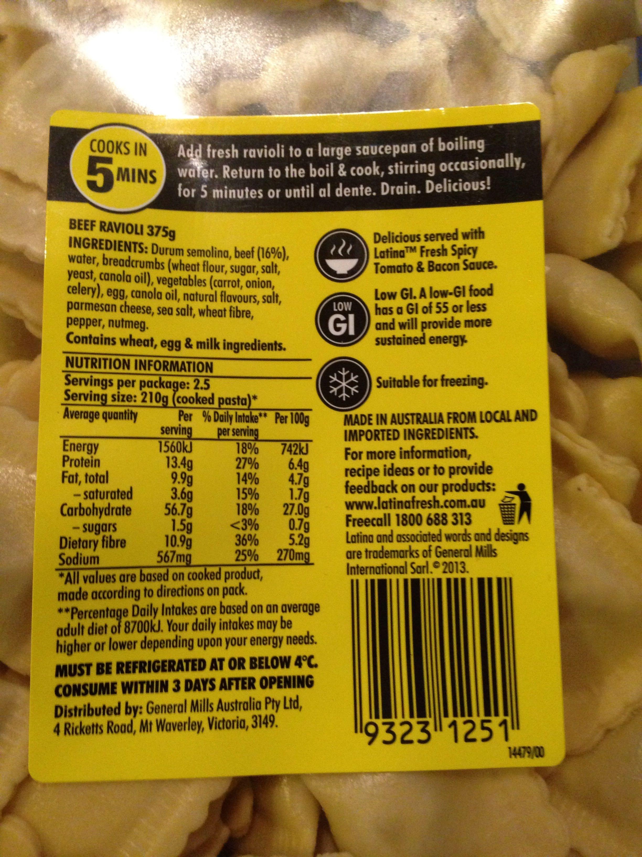 Latina Beef Ravioli - Nutrition facts - en