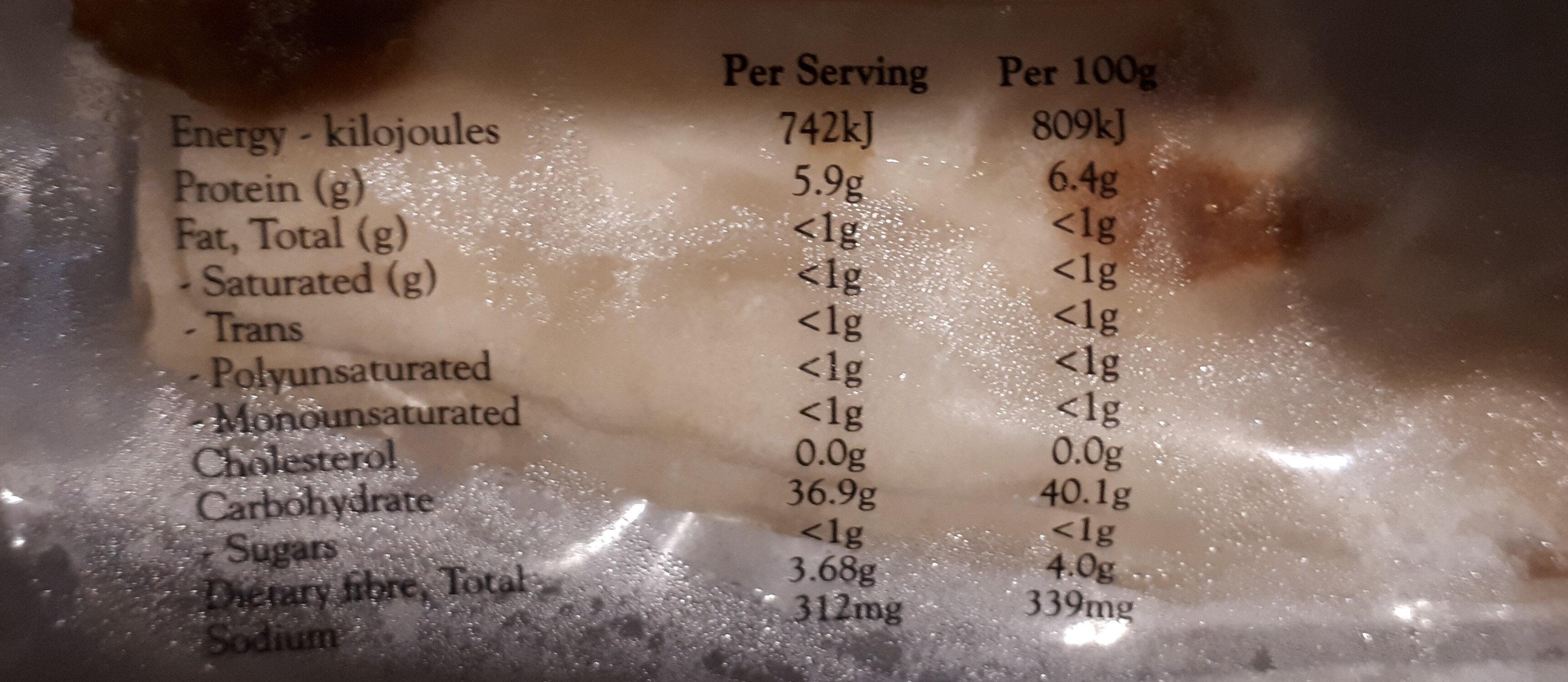 Pizza Bases - Nutrition facts - en