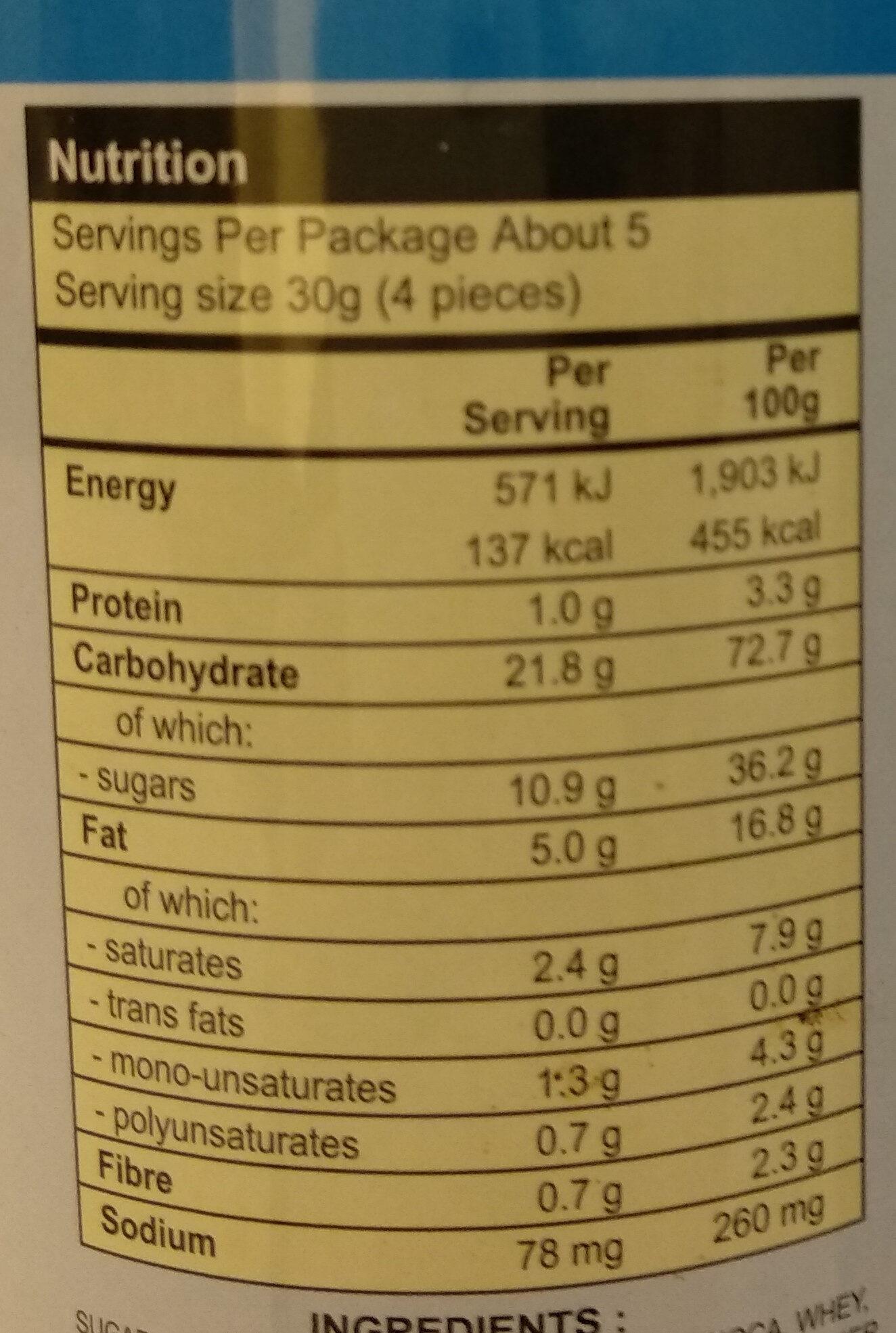 เวเฟอร์ชนิดแท่งกลิ่นคุกกี้แอนด์ครีม - Informations nutritionnelles - th