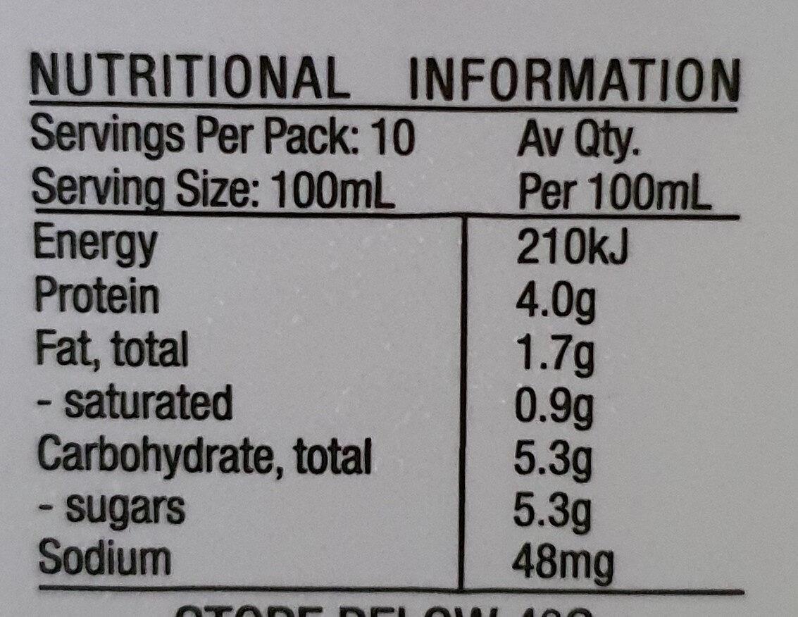 Maleny Dairies Low Fat Milk - Voedingswaarden - en