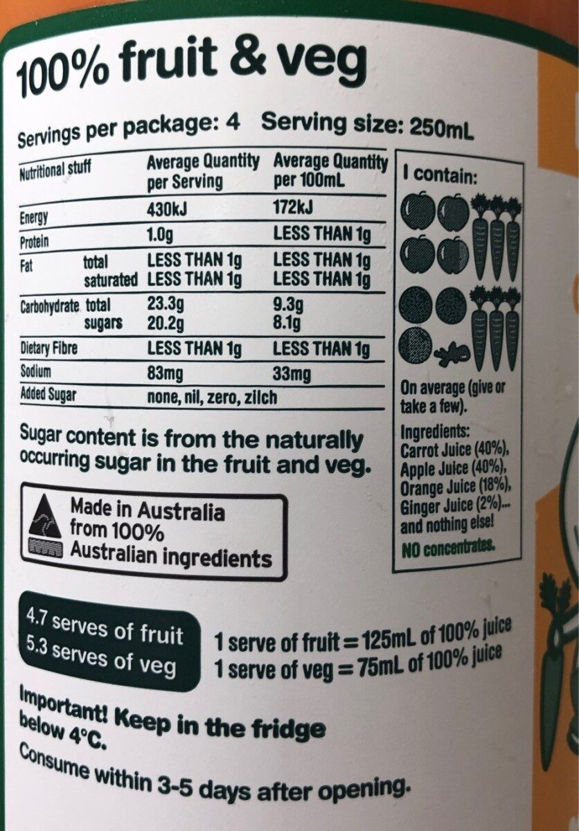 Nothing but carrot, apple, orange & ginger - Nutrition facts