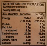 The Simply Fine Food Company Wholegrain Wraps - Nutrition facts