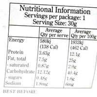 Rowie's snacckie bites chia rice & rainbow veggies - Nutrition facts