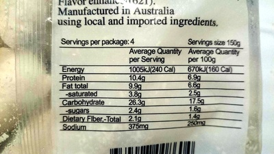 Shanghai Chinese Spinach with shrimp and Pork Dumplings - Nutrition facts