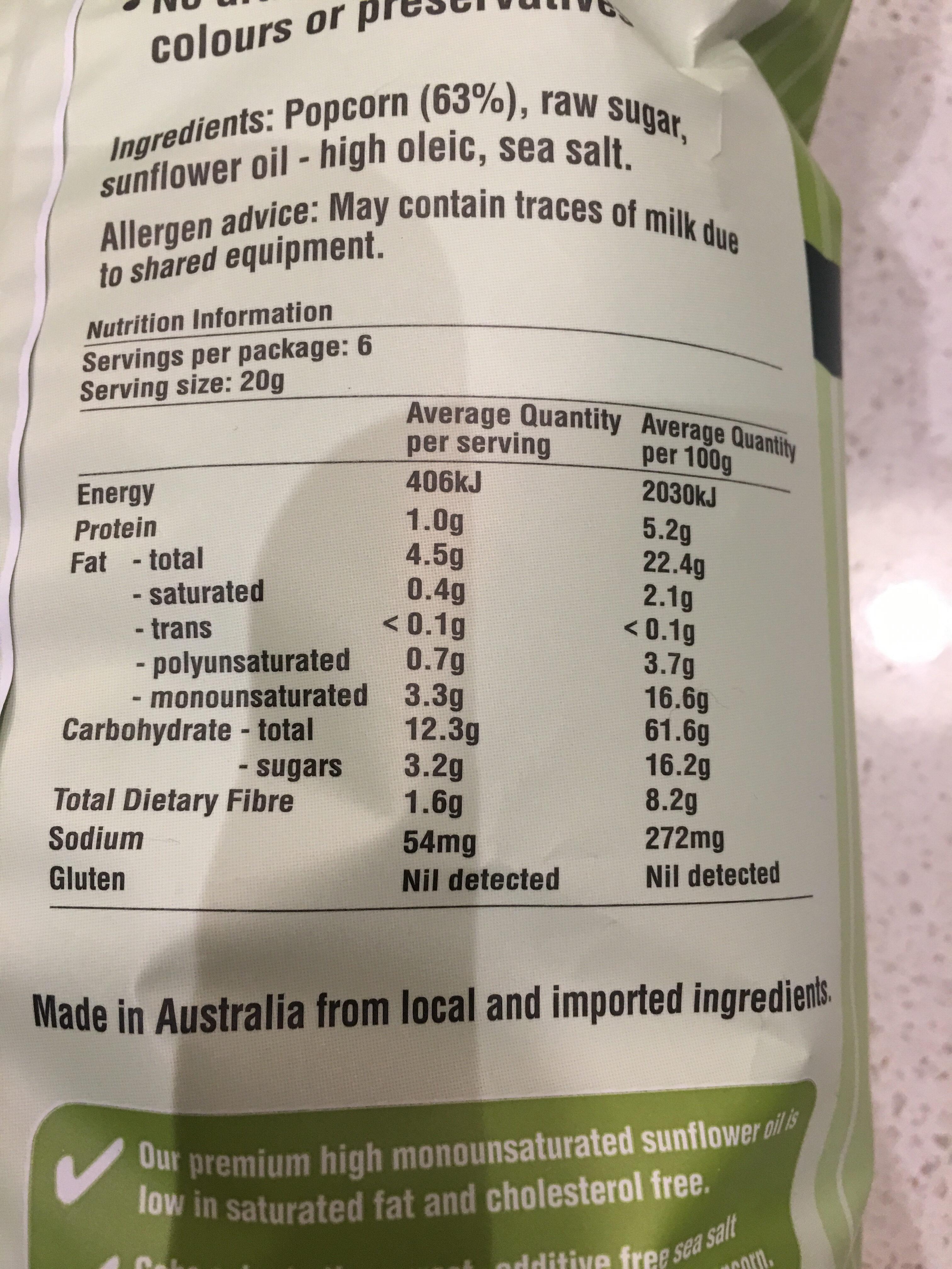 Cobs natural - Informations nutritionnelles - en
