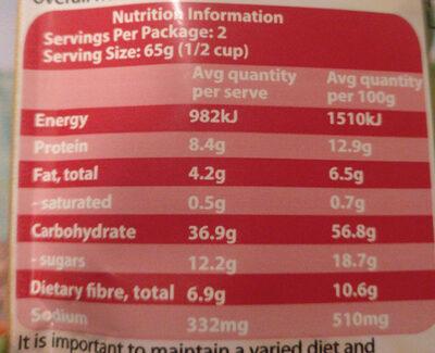 Gluten Free Quinoa Risoto Mediterranean tomato and herb - Informations nutritionnelles - en