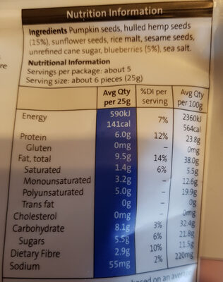 Hemp Seed Blueberry Munch - Nutrition facts