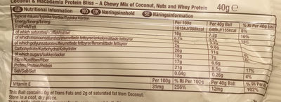 Coconut and Macadamia Protein Bliss - Nutrition facts - en