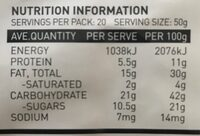 All natural crunchy granola - Nutrition facts - en