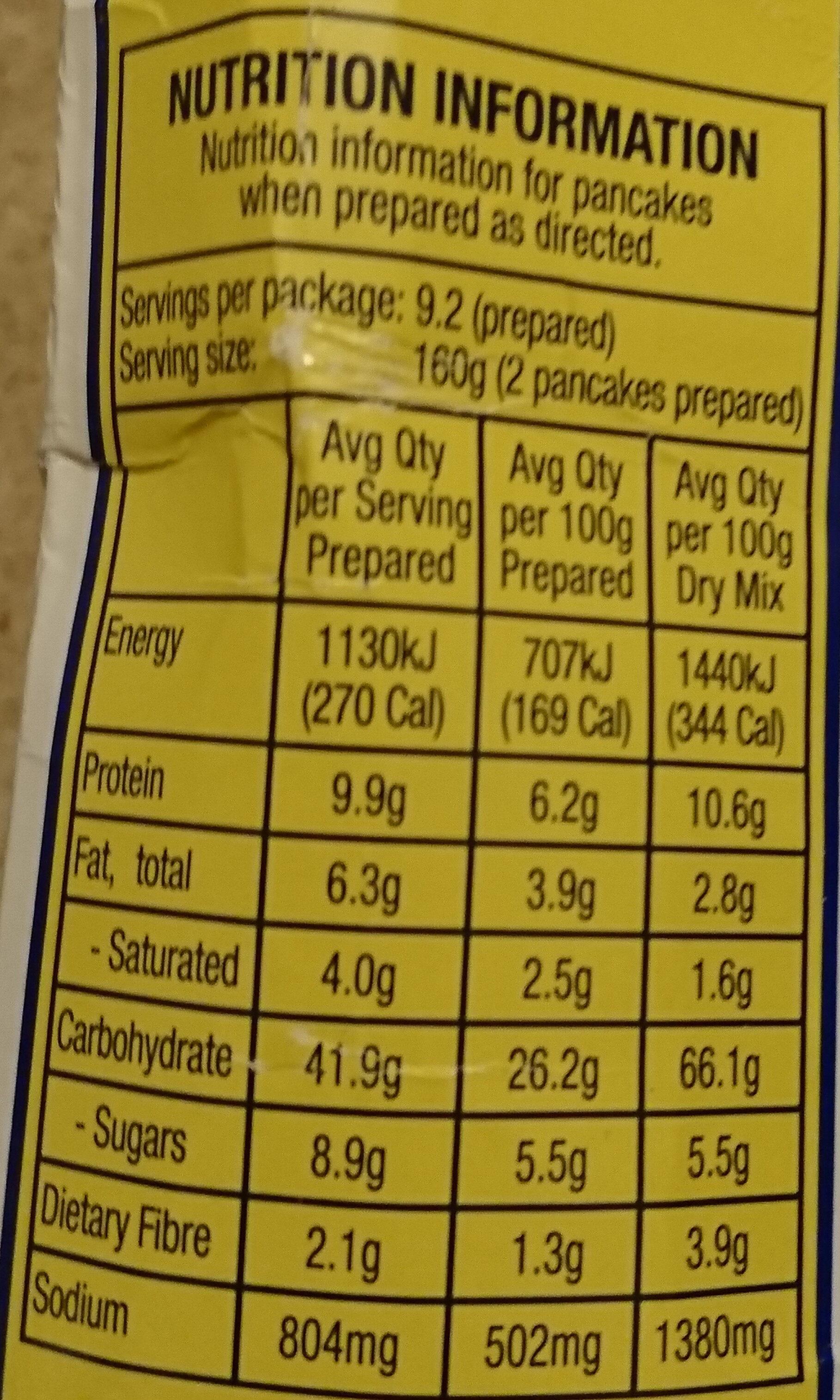 Buttermilk Pancake Mix - Nutrition facts - en