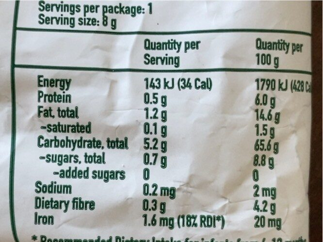 Organic Banana Soft Corn - Nutrition facts - en