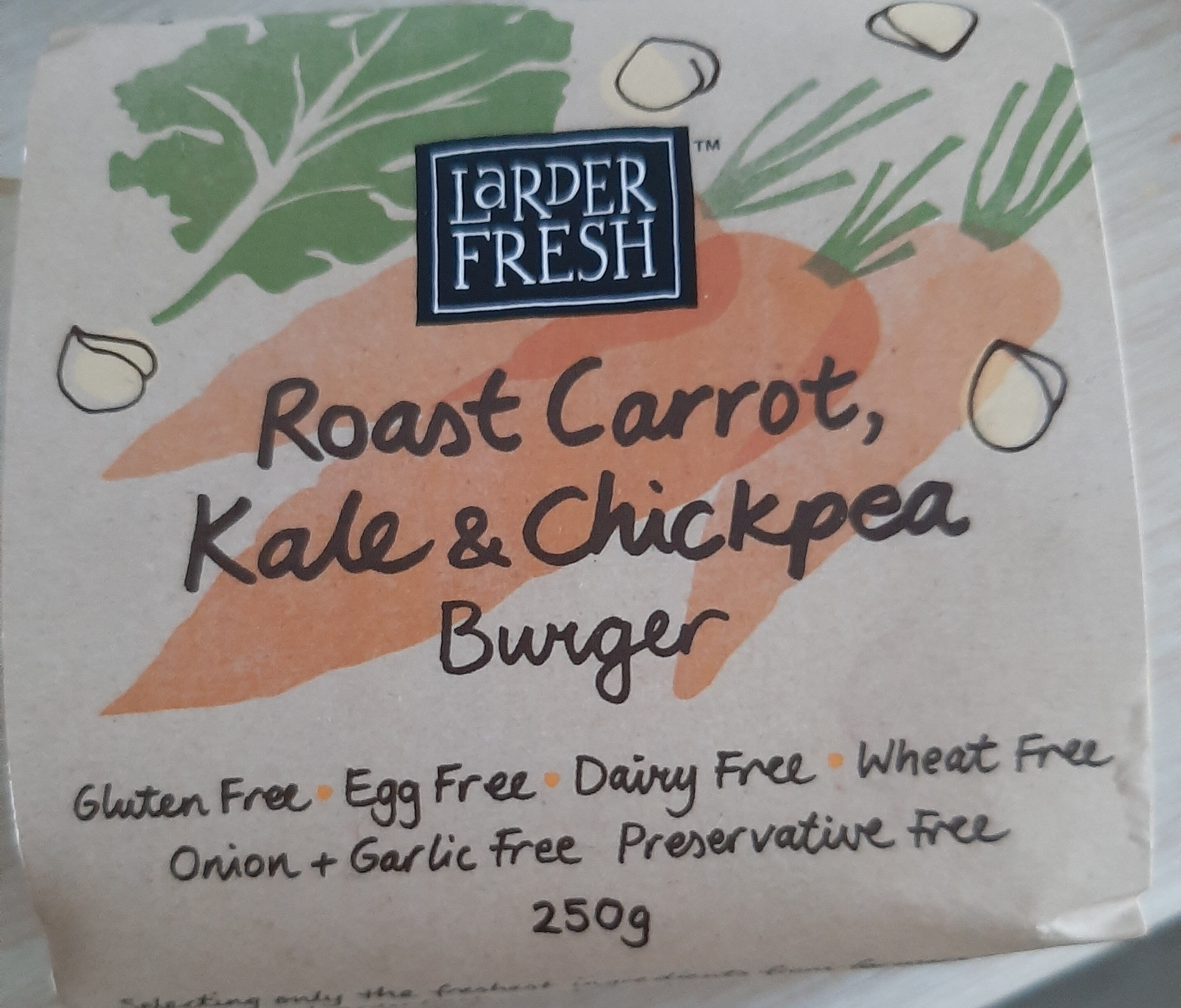 roast carrot, kale and chickpea burger - Product - en