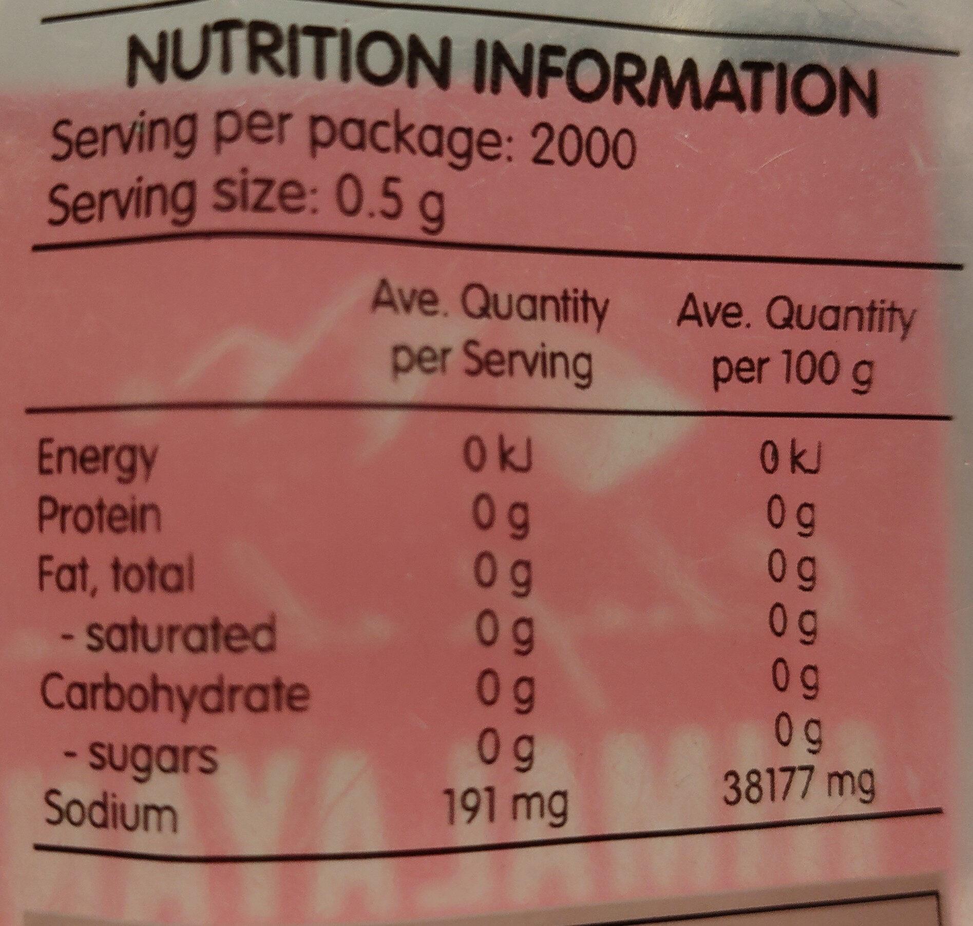 Himalayan Pink Rock Salt - Nutrition facts - en