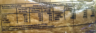 Abbott's Rustic White Bread - Nutrition facts