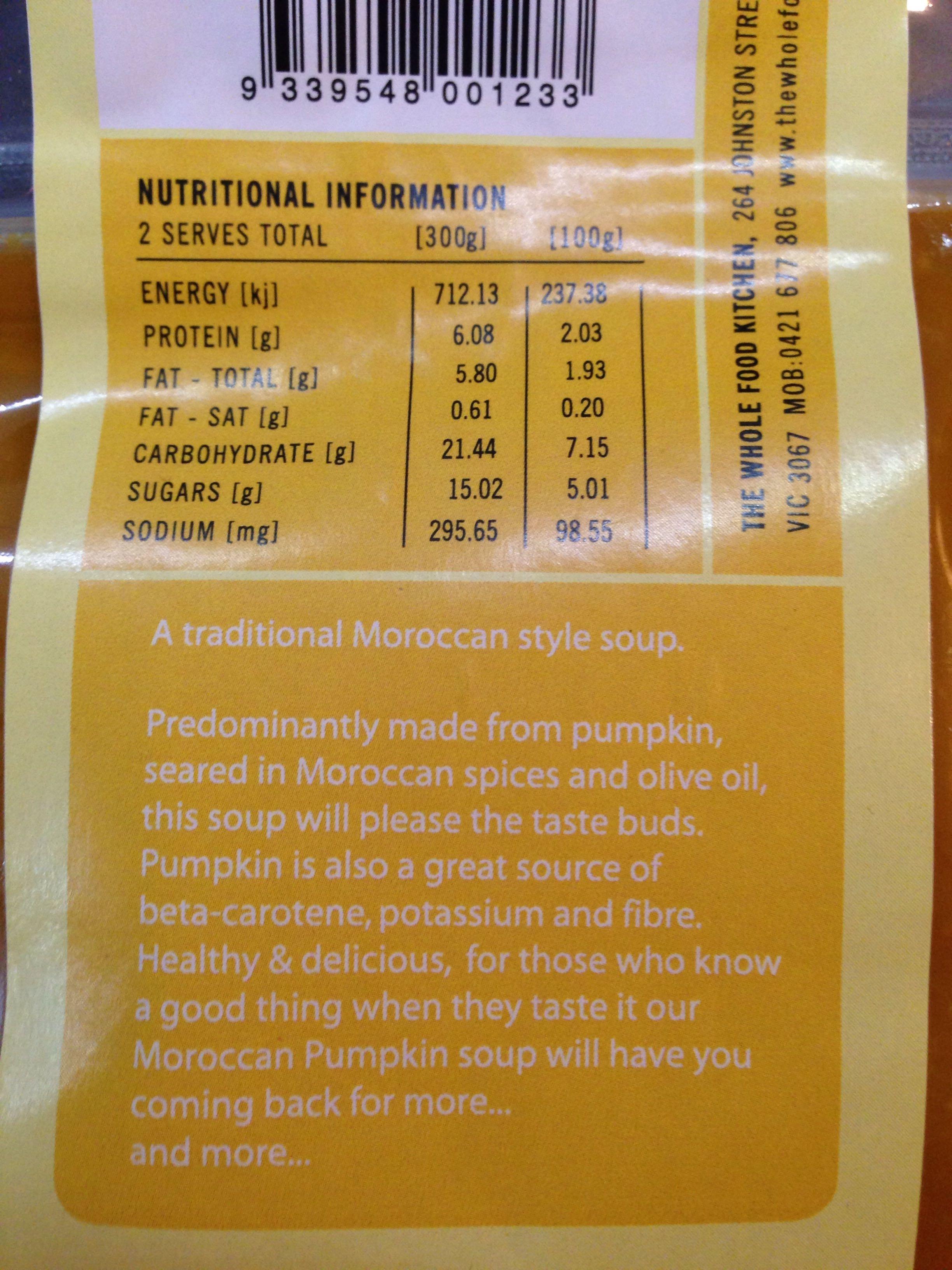 Moroccan Pumpkin Soup - Voedingswaarden - en