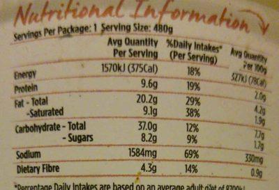 Potato Corn & Bacon Chowder - Nutrition facts