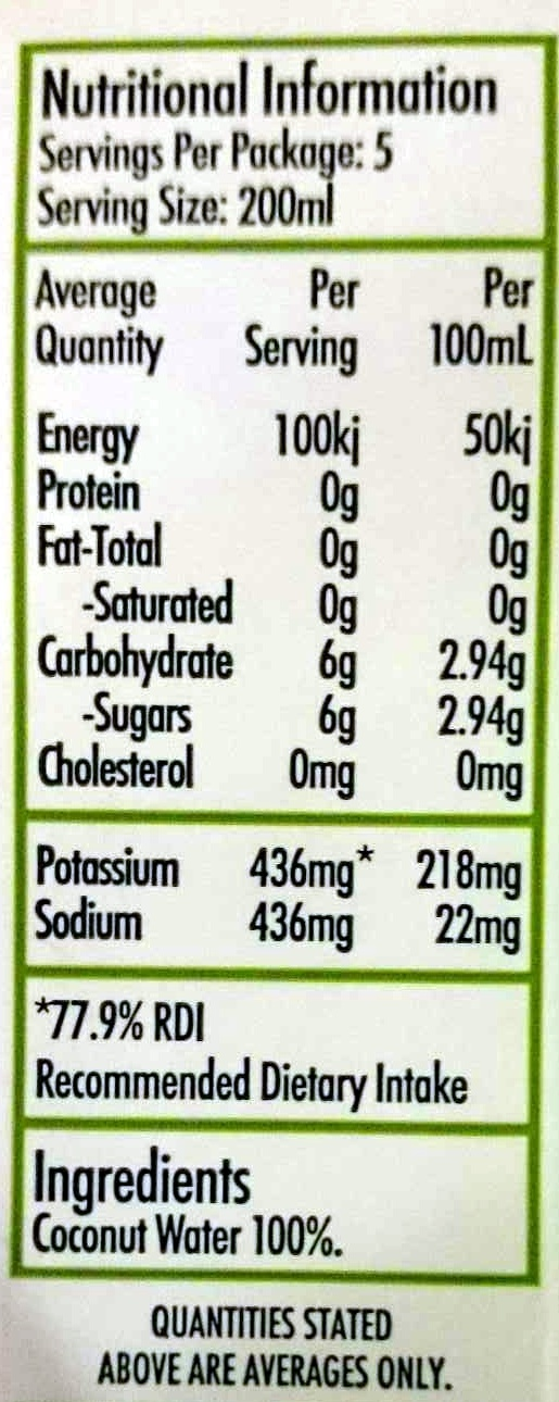 Cocnut Water - Nutrition facts
