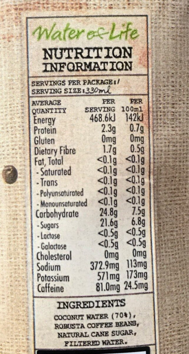 COCOESPRESSO - Nutrition facts - en