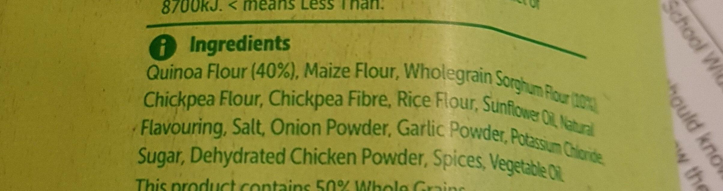 Quinoa Puffs cheeky chicken flavour - Ingredients - en