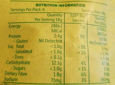 Quinoa Puffs cheeky chicken flavour - Nutrition facts - en