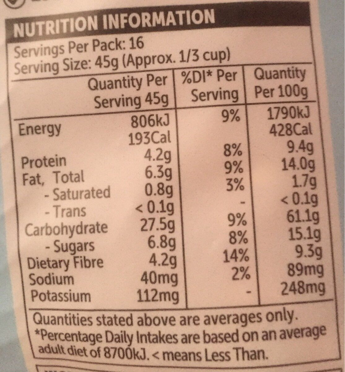 Crunchy clusters almond & vanilla - Nutrition facts