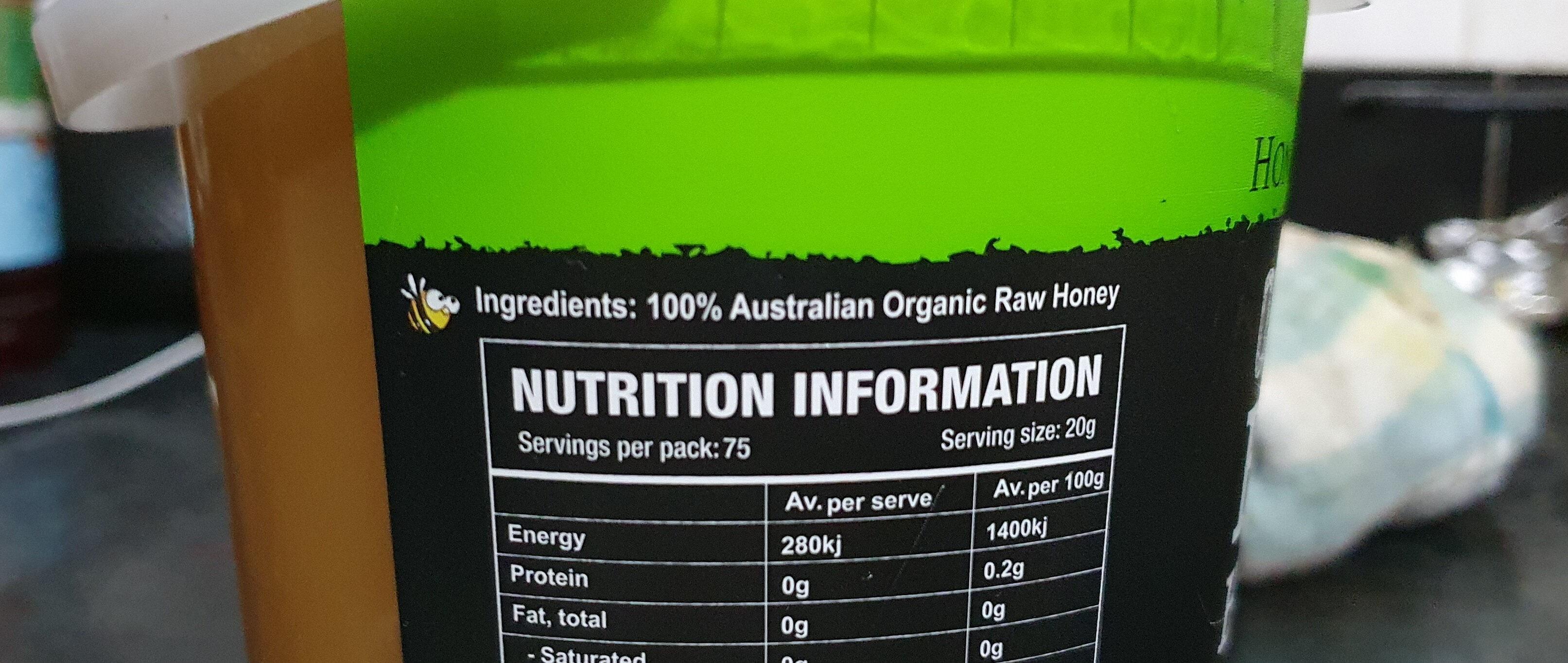 organic raw honey - Ingredients - en