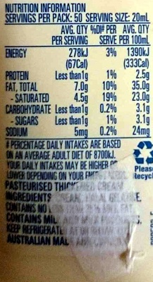Thickened Cream - Nutrition facts - en
