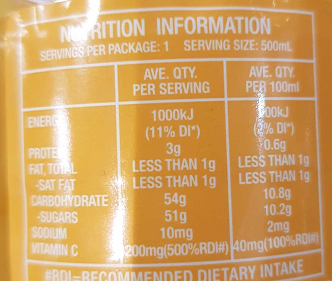 Nippy's Orange & Mango Juice - Nutrition facts