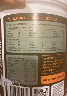 Nuzest clean lean protein - Voedingswaarden