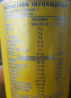 VR 46 - Nutrition facts