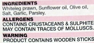 Prawn Skewers - Garlic - Ingredients