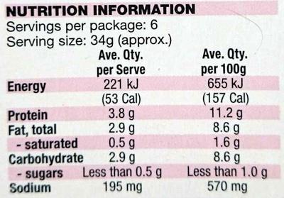 Prawn Skewers - Garlic - Nutrition facts