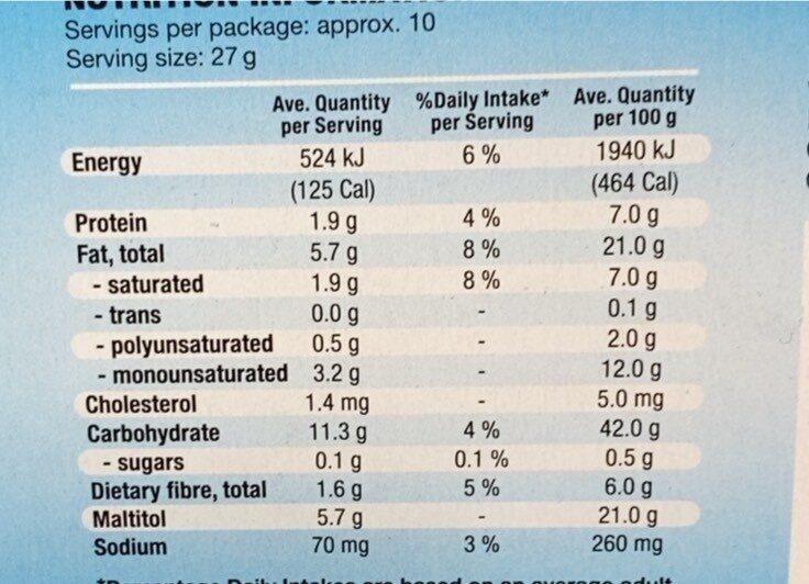 Sugar free chocolate digestive - Nutrition facts - en