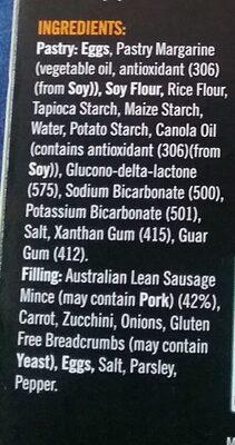 Jase's kitchen gluten free sausage rolls - Ingredients - en
